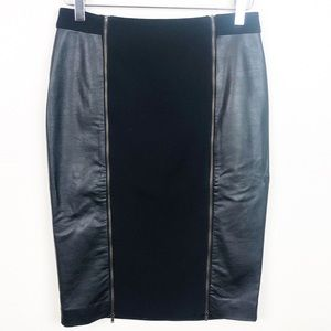DOWN EAST l Faux Leather Skirt With Front Zipper